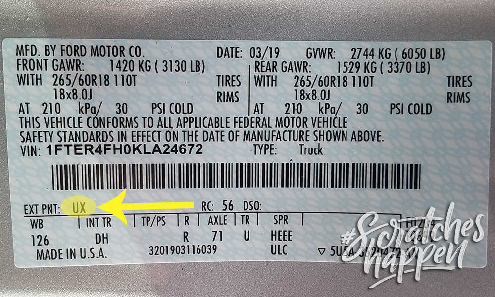 Ford Paint Code Location (Sticker)