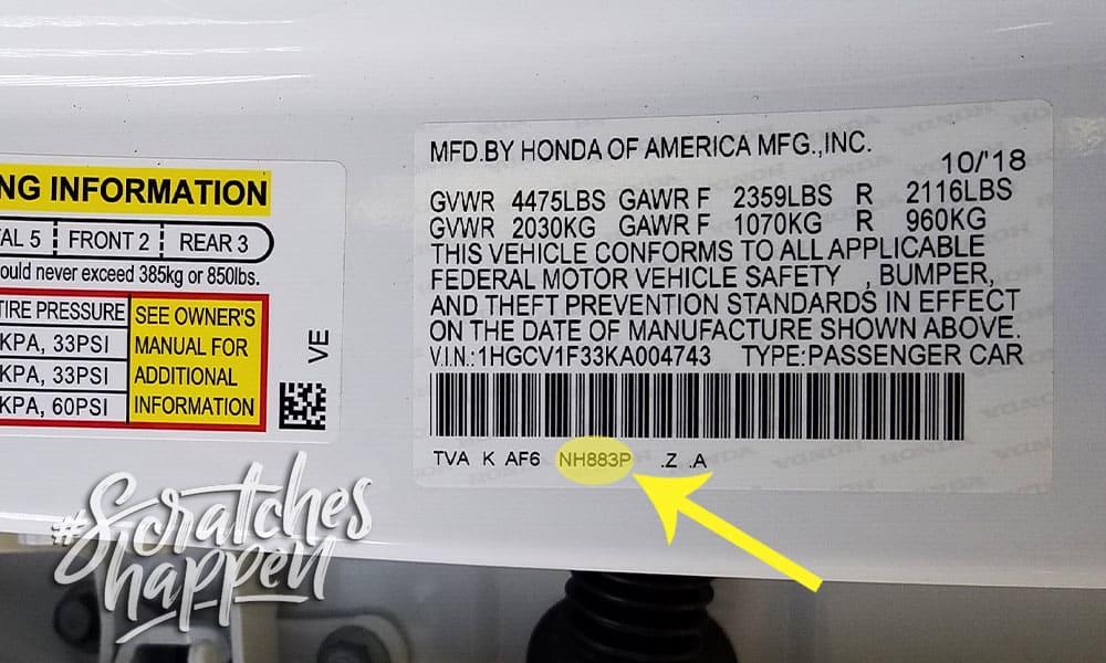 Honda Paint Code Location (Sticker)