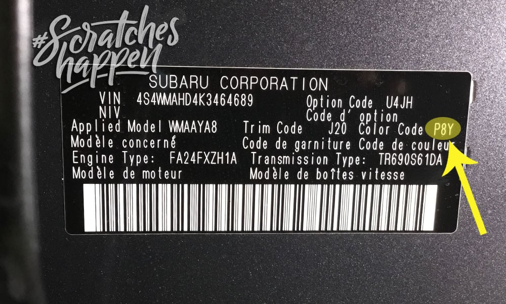 Subaru Paint Code Location (Sticker)